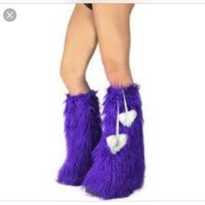 iHeartRaves Dark purple leg warmer fluffies